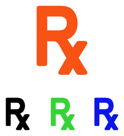 Prescription Symbol vector pictogram. Illustration style is a flat iconic colored symbol with different color versions.