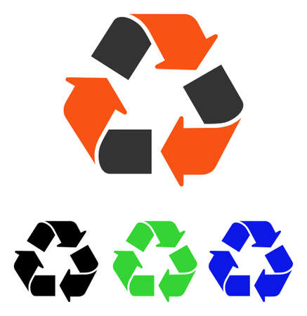 Recycle vector pictogram. Illustration style is a flat iconic colored symbol with different color versions.