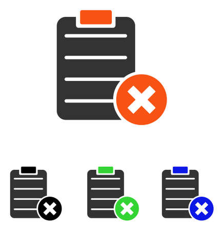 refuse: Reject Form vector pictograph. Illustration style is a flat iconic colored symbol with different color versions. Illustration