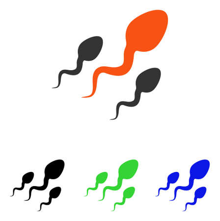 Sperm vector pictogram. Illustration style is a flat iconic colored symbol with different color versions.