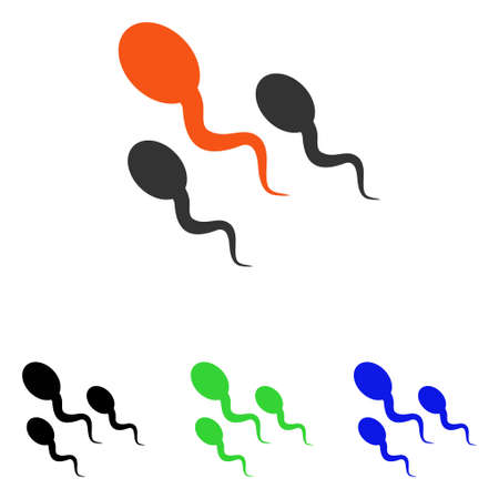 Sperm vector icon. Illustration style is a flat iconic colored symbol with different color versions.