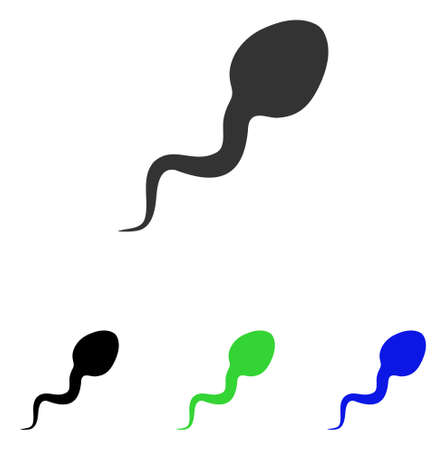 Spermatozoon vector pictograph. Illustration style is a flat iconic colored symbol with different color versions.