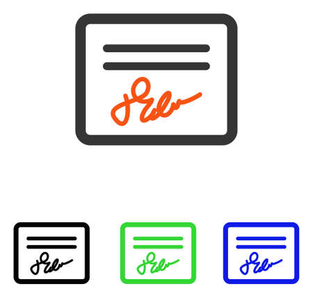 Signed Page vector icon. Illustration style is a flat iconic colored symbol with different color versions. Illustration