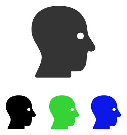 silent: Silent Head vector icon. Illustration style is a flat iconic colored symbol with different color versions. Illustration