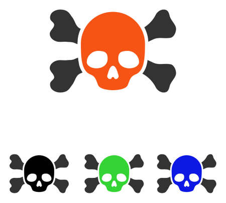 Skull And Bones vector icon. Illustration style is a flat iconic colored symbol with different color versions. Ilustração