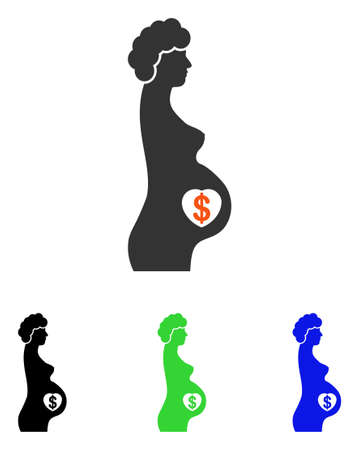 abdomen women: Surrogacy vector icon. Illustration style is a flat iconic colored symbol with different color versions.