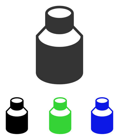 Phial vector pictograph. Illustration style is a flat iconic colored symbol with different color versions.