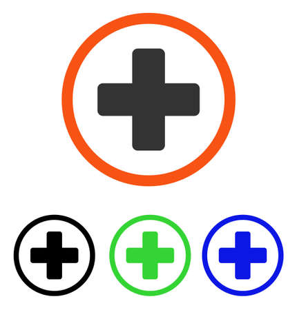 new addition: Rounded Plus vector pictograph. Illustration style is a flat iconic colored symbol with different color versions.
