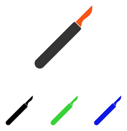 Scalpel vector pictogram. Illustration style is a flat iconic colored symbol with different color versions.