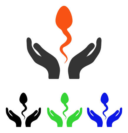 Sperm Care Hands vector pictograph. Illustration style is a flat iconic colored symbol with different color versions.