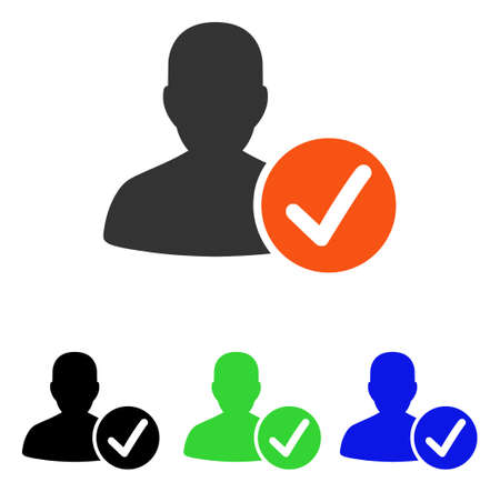 Valid Patient vector pictograph. Illustration style is a flat iconic colored symbol with different color versions. Illustration