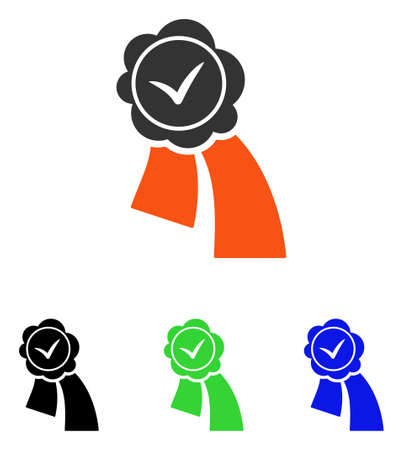 validation: Validation Seal vector pictograph. Illustration style is a flat iconic colored symbol with different color versions.