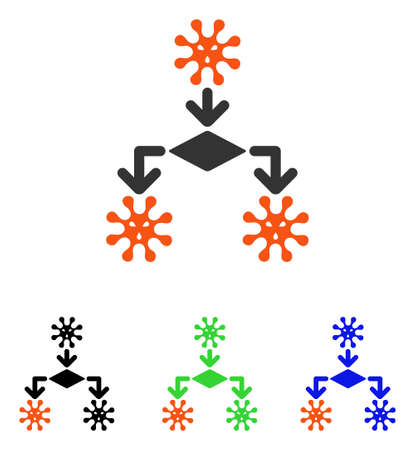 Virus Reproduction vector pictograph. Illustration style is a flat iconic colored symbol with different color versions. Illustration