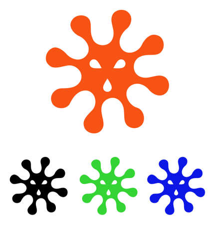 Virus vector icon. Illustration style is a flat iconic colored symbol with different color versions.