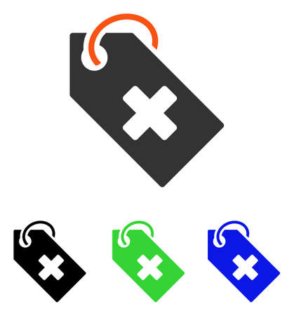 Hospital Tag illustration with flat style iconic colored symbol with different color versions.