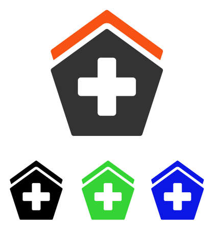 polyclinic: Hospital vector pictograph. Illustration style is a flat iconic colored symbol with different color versions. Illustration