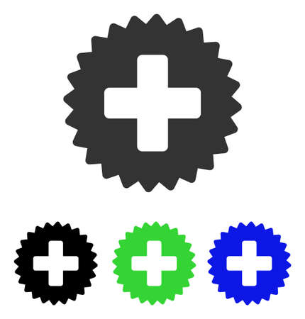 new addition: Health Care Stamp vector pictograph. Illustration style is a flat iconic colored symbol with different color versions.