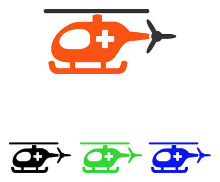 Emergency Helicopter vector icon. Illustration style is a flat iconic colored symbol with different color versions.