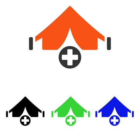 Field Hospital vector pictogram. Illustration style is a flat iconic colored symbol with different color versions.