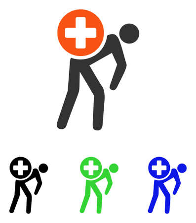delivery truck: Medication Courier vector pictograph. Illustration style is a flat iconic colored symbol with different color versions.