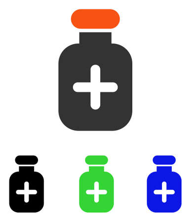 Medication Vial vector pictograph. Illustration style is a flat iconic colored symbol with different color versions.