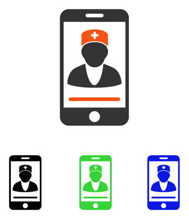 display: Mobile Doctor vector icon. Illustration style is a flat iconic colored symbol with different color versions.