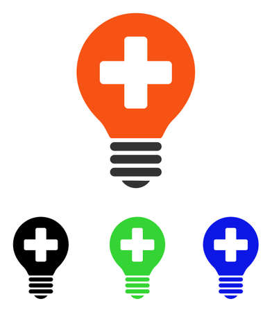 Healh Care Bulb vector pictograph. Illustration style is a flat iconic colored symbol with different color versions.