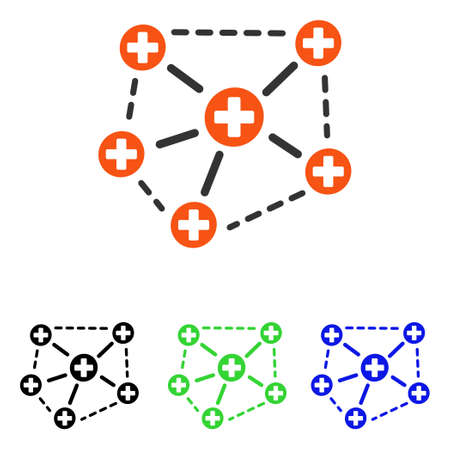 Medical Network Structure vector pictograph. Illustration style is a flat iconic colored symbol with different color versions.