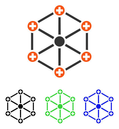 Medical Network vector icon. Illustration style is a flat iconic colored symbol with different color versions.