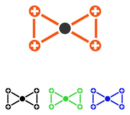 Medical Nodes vector icon. Illustration style is a flat iconic colored symbol with different color versions. Illustration