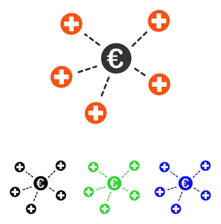 Euro Medical Links vector pictograph. Illustration style is a flat iconic colored symbol with different color versions. Illustration
