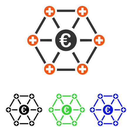 Euro Medical Links vector pictogram illustration in a flat iconic colored symbol with different color versions.