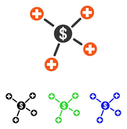 Financial Medical Links vector icon. Illustration style is a flat iconic colored symbol with different color versions.