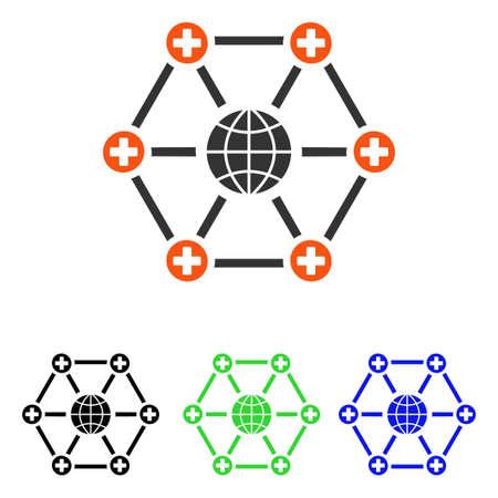 グローバル医療ネットワーク ベクトル ピクトグラム。イラストのスタイルは、別の色のバージョンでフラット象徴的な色のシンボルです。