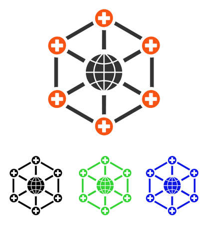 Global Medical Network vector icon. Illustration style is a flat iconic colored symbol with different color versions.