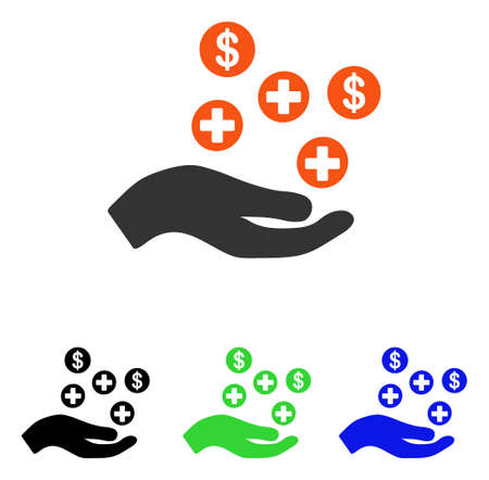 Hand Offer Medical Service vector icon. Illustration style is a flat iconic colored symbol with different color versions.