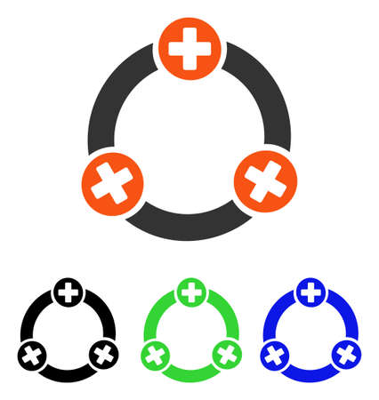 Medical Collaboration vector icon. Illustration style is a flat iconic colored symbol with different color versions.