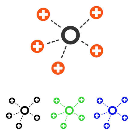 Medical Connections vector pictograph. Illustration style is a flat iconic colored symbol with different color versions. Illustration