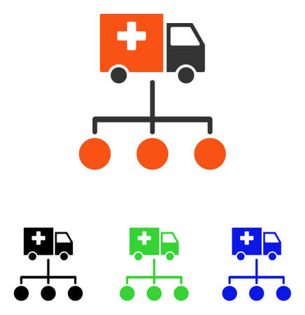 subsidiary: Medical Delivery Links vector icon. Illustration style is a flat iconic colored symbol with different color versions.