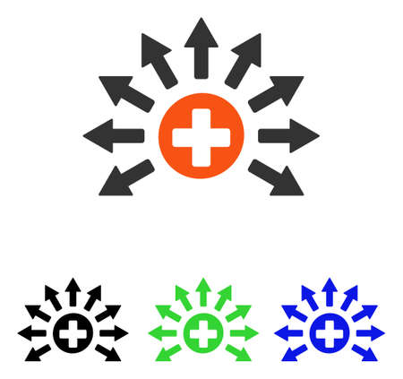Medical Distribution vector pictogram. Illustration style is a flat iconic colored symbol with different color versions.
