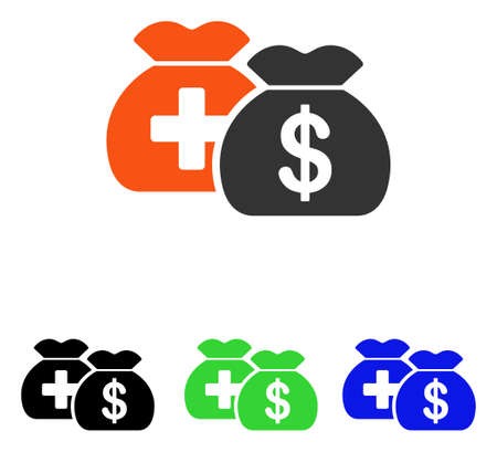 Medical Fund Bags vector icon. Illustration style is a flat iconic colored symbol with different color versions.