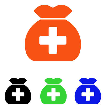 Medical Fund Sack vector pictogram. Illustration style is a flat iconic colored symbol with different color versions. Illustration