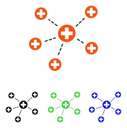 Pictograma de vector de enlaces médicos. El estilo de ilustración es un símbolo de color plano icónico con diferentes versiones de color. Ilustración de vector