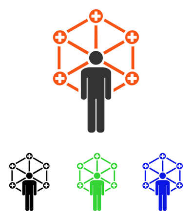 Medical Network Administrator vector icon. Illustration style is a flat iconic colored symbol with different color versions. Illustration