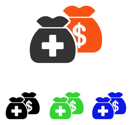 Health Care Funds vector icon. Illustration style is a flat iconic colored symbol with different color versions.