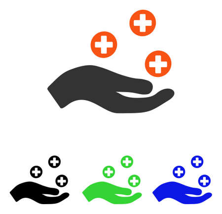 Hand Offer Medicine vector pictograph. Illustration style is a flat iconic colored symbol with different color versions.