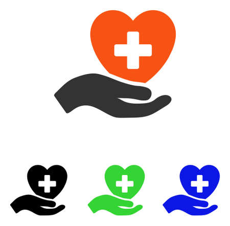 Hand Offer Cardiology vector pictogram. Illustration style is a flat iconic colored symbol with different color versions. Stock Photo