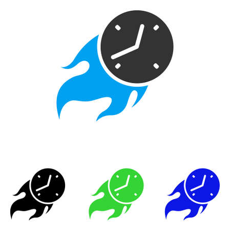 Deadline Fire vector icon. Illustration style is a flat iconic colored symbol with different color versions. Illustration