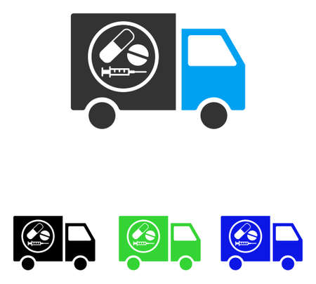 delivery truck: Drugstore Truck vector icon. Illustration style is a flat iconic colored symbol with different color versions.