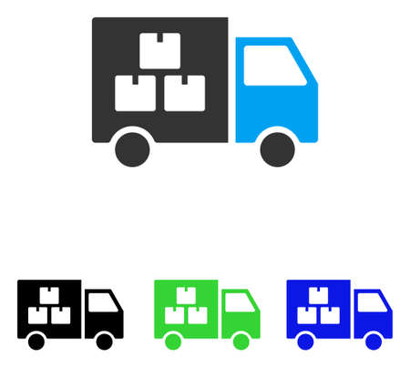 moving truck: Goods Transportation Car vector pictogram. Illustration style is a flat iconic colored symbol with different color versions.